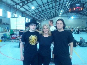 Kraken Rox with her sons Cisco Skid and Dr. Zeus at the Battle of the C Squads Tournament in June.
